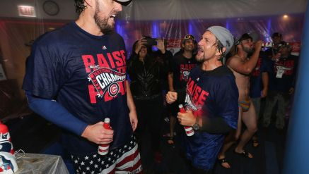 CHICAGO, IL - OCTOBER 22: John Lackey #41 of the Chicago Cubs celebrates with musician Eddie Vedder after defeating the Los Angeles Dodgers 5-0 in game six of the National League Championship Series to advance to the World Series against the Cleveland Indians at Wrigley Field on October 22, 2016 in Chicago, Illinois. (Photo by Jonathan Daniel/Getty Images)